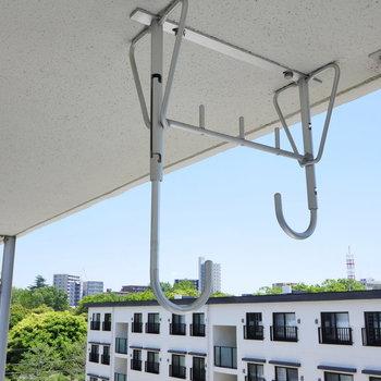 物干し金具は高さ調節可能で、便利。