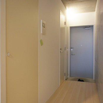 玄関通路にサニタリー扉、洗濯機扉。※写真は前回募集時のものです