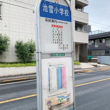 マンションのすぐ前にはバス停も。