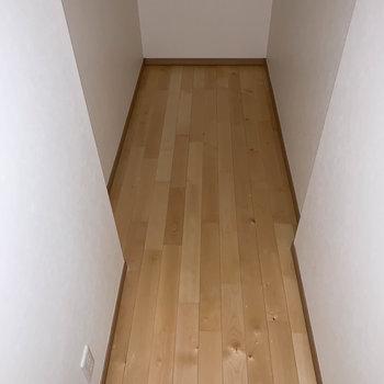 階段横にも、頑張ったら寝れるくらいの広さの部屋が。がっつりとした収納部屋として使うのが良いかも。※通電前につきフラッシュを使用して撮影しています。