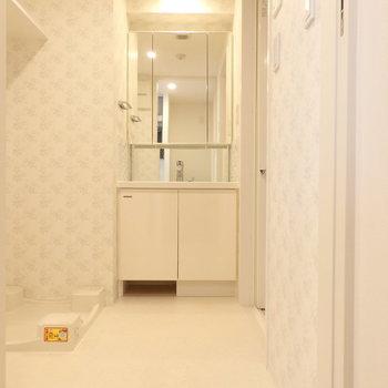 洗面所も収納が多くて嬉しいですね ※写真はクリーニング前のものです