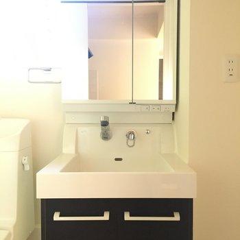 洗面台はしっかり。収納もあります。※写真は1階の同間取り別部屋のものです