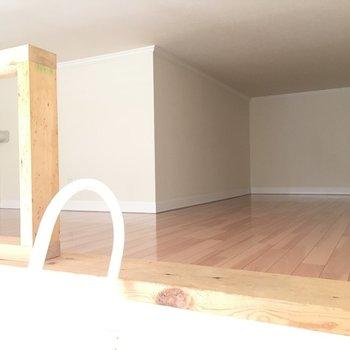L字型のロフト。居住スペースとして。※写真は1階の同間取り別部屋のものです