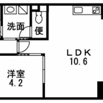 寝室を分けられる1LDK。