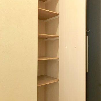 シューズボックス。1段1段高さがあるからハイカットスニーカーでも大丈夫※写真は3階の同間取り別部屋のものです