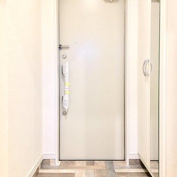 玄関はウッディーテイストに。