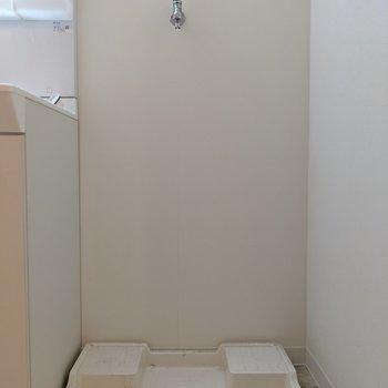 洗濯パンは洗面台横です(※写真は2階の同間取り別部屋、清掃前のものです)