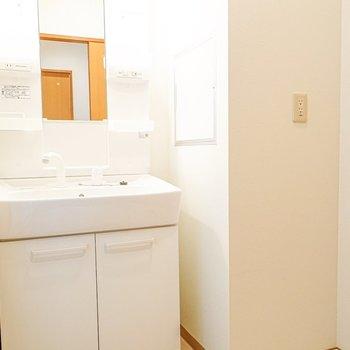 洗面台と洗濯機置場はセットで便利。