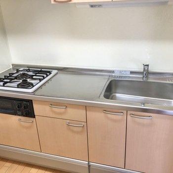 2口コンロで調理スペースも確保されています。
