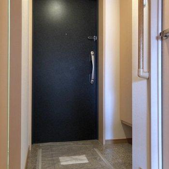 靴の脱ぎ履きがしやすそうな玄関へ。