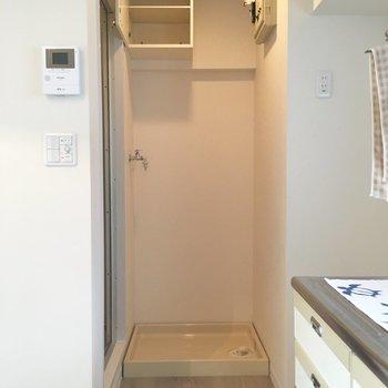 洗濯機置き場、上部に収納もついてます。