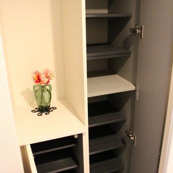 靴箱充実、ちょっとした棚が嬉しい ※写真は1階の同間取り別部屋のものです。