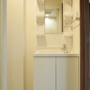 隣に独立洗面台。 ※写真は5階の同間取り別部屋のものです