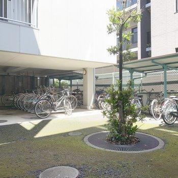 広い駐輪場があります。