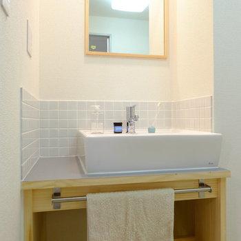 かわいい洗面台!朝からテンションが上がりそう!※写真はモデルルームです。