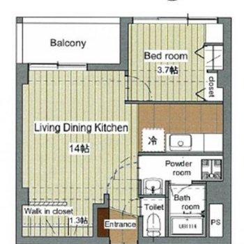 ベッドルームは少し狭め。