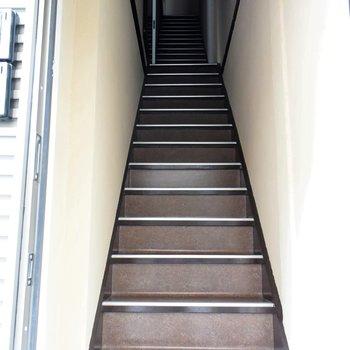 この階段をのぼって、お部屋へ行きます