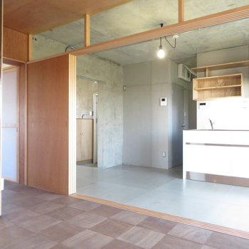 キッチンのお部屋です。動線はバルコニを経由しそう