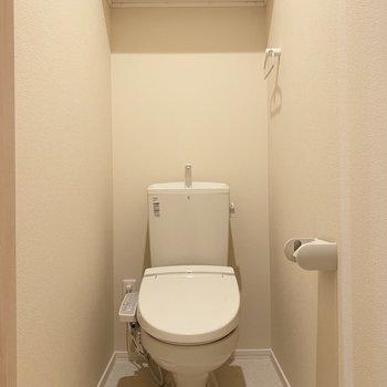 トイレはウォシュレットと棚付き♪(※写真は清掃前のものです)