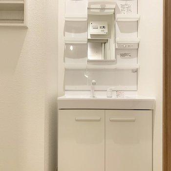 洗面台横は小さめの棚付きです。