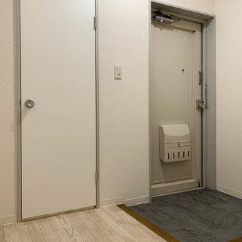 玄関部分です。左手の扉を開けると...