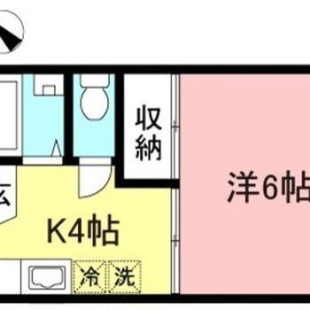キッチンスペースが広い1Kのお部屋です。