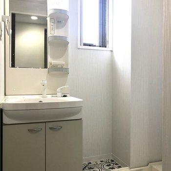 洗面台と洗濯機置場はおとなりさん。