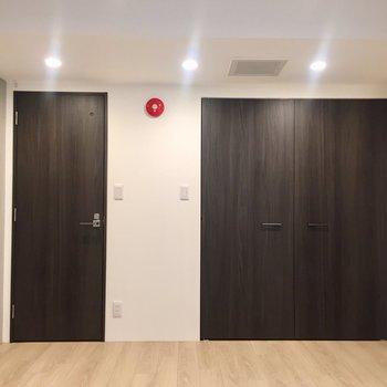 【洋室】右がクローゼットで、左が洗面所です。
