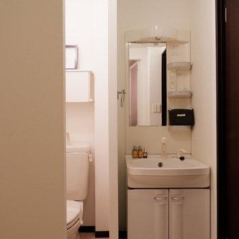 収納付き独立洗面台は嬉しい。※写真は2階の同間取りの別部屋のものです ※家具はサンプルとなります