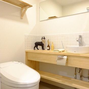 鏡つき!棚は床材を活用です!※写真はモデルルームです。