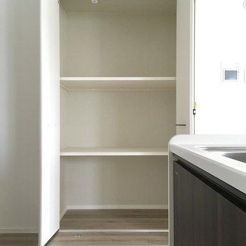 こちらはキッチン横の収納。パントリーにしたりお掃除用具入れにしたり。