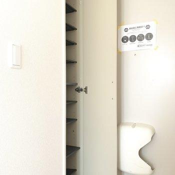 シューズボックスは容量たくさん、扉は鏡付き♪