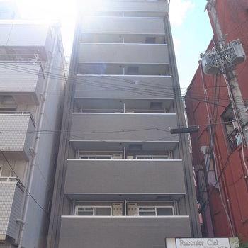 商店街のそばにある細長いマンション。