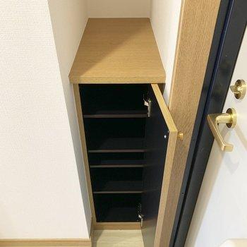 シューズボックスもコンパクトに。上部も活用しましょう。(※写真は13階の同間取り別部屋のものです)