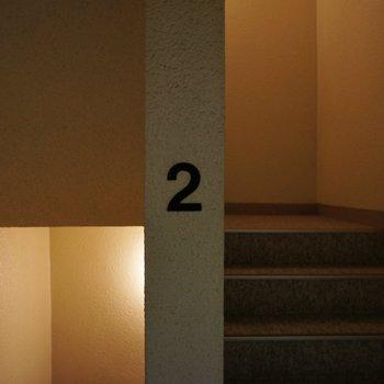 二階にあがって、