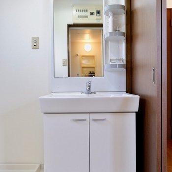 独立洗面台も脱衣所にあり、動線良いですね。※家具はサンプルです