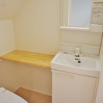 洗面台。置き場もあって便利ねー!※写真は1階の同間取り別部屋のものです