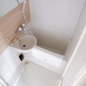 お風呂は2点ユニットですが、木目調のアクセントクロスが効いてます♪