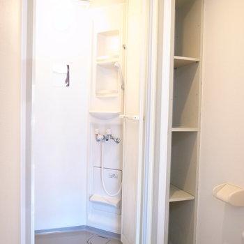 お風呂はシャワーだけ、なひと向け。シャワーブースの右となりにはスリムな棚があり、タオル類などにちょうどいいです。