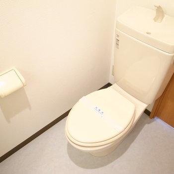 シャワーブースの向かいにトイレがあります。