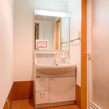 脱衣所も広め。洗面台はシャワーヘッドになっているので寝癖直しも楽チン。※写真は2階反転間取り別部屋のものです