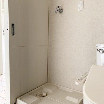 洗濯機置場もひとまとめに一緒の空間。(※写真は12階の反転間取り別部屋のものです)