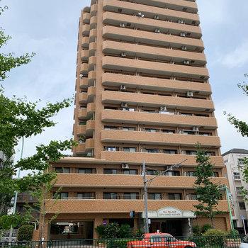 道路沿いの大きなマンションです。
