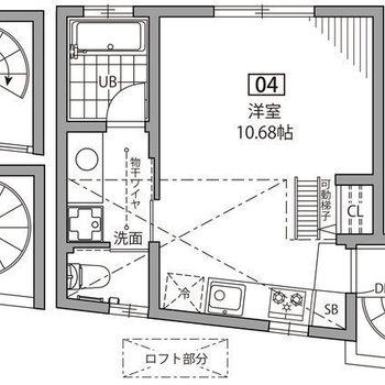 螺旋階段で上がる3階のお部屋。ロフト付きです。