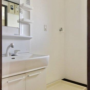 向かいには脱衣所。広い洗面台で朝の支度もラクラクです。