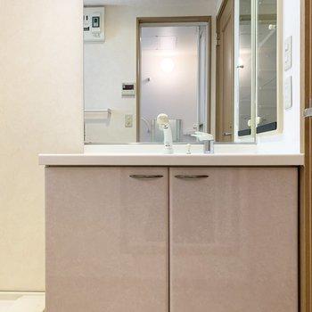 洗面台は大きな鏡がついた独立洗面です!
