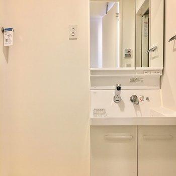 洗面台もキレイ。※写真は4階同間取り別部屋のものです