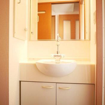 独立洗面台がちょっとレトロでおしゃれ!鏡も大きいです。