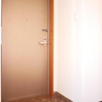 玄関は大理石調。
