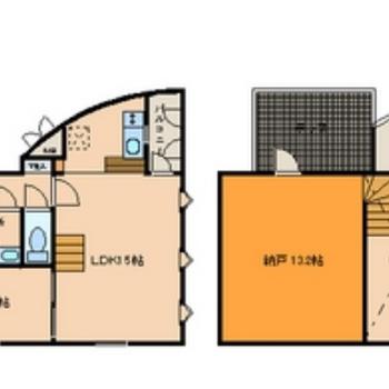 広い収納スペースのあるメゾネットタイプ